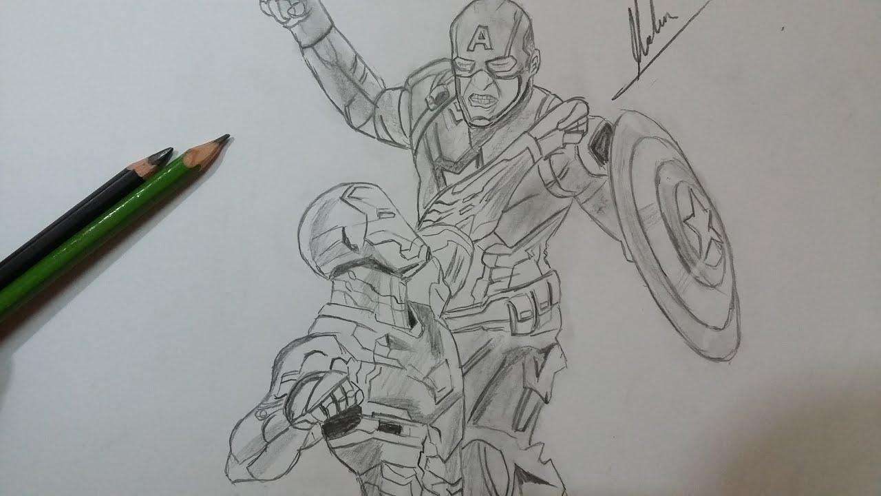 Dibujo de Capitan America: Civil War. Iron man vs Capitan America ...