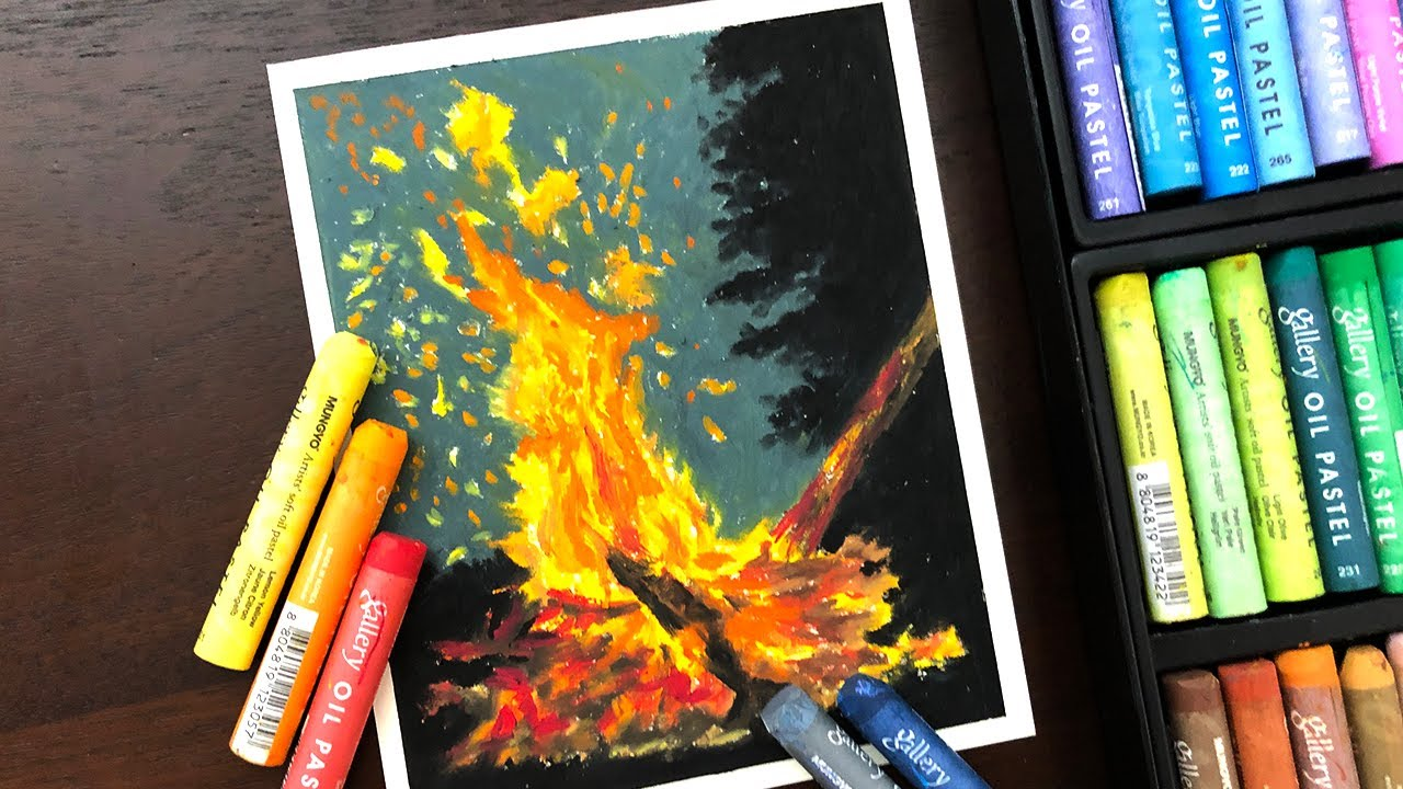 Oil soft pastel art painting ideas | Night Sky & Camping ...
