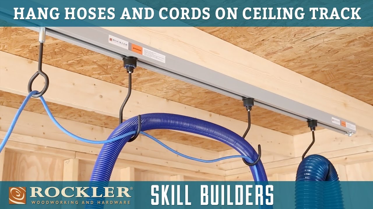 How to hang shop hoses and cords on ceiling track rockler skill how to hang shop hoses and cords on ceiling track rockler skill builders greentooth Image collections