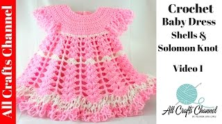 Repeat youtube video Crochet Baby Dress/ Shells, Video 2 / Subtítulos en Español - Yolanda Soto Lopez