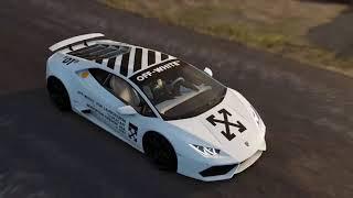 Lamborghini X Off - White driving wild in Los Angeles
