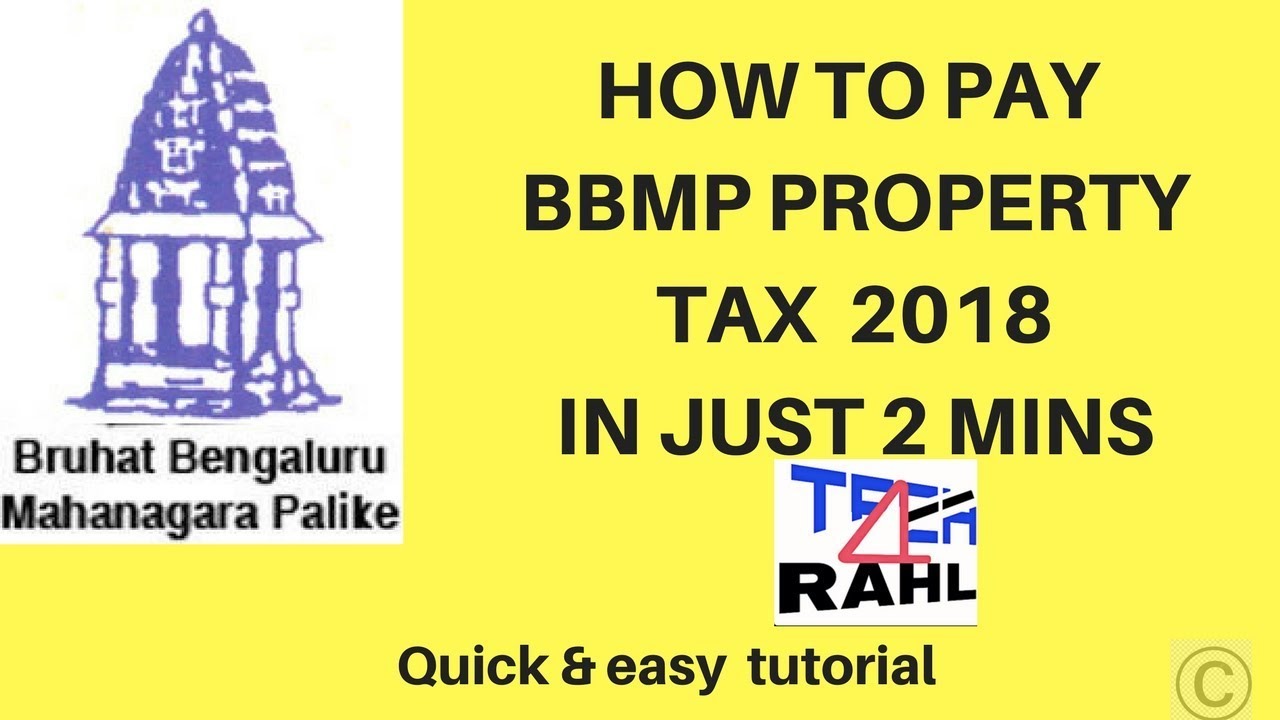 How To Pay Bbmp Property Tax 2018 Youtube
