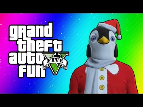 Thumbnail: GTA 5 Online Funny Moments - Christmas DLC, Santa Claus Delirious, Penguin Mask, Dance Moves!