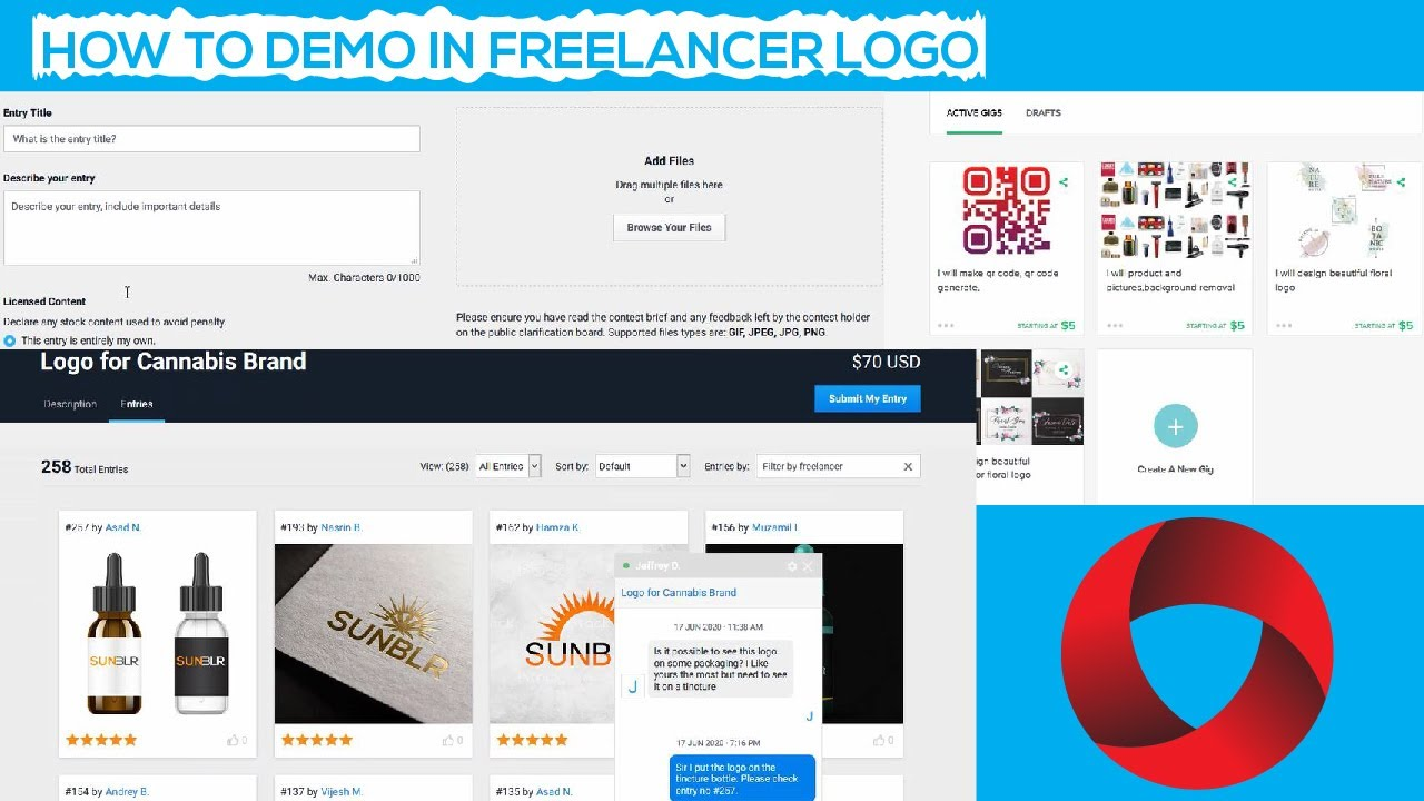 How to demo in freelancer logo and wining entry logo | Make logo easily and fast for freelancer