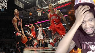HE'S LITERALLY FLOATING!! DERRICK ROSE TOP 10 PLAYS & DUNKS REACTION!!