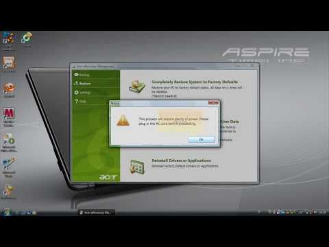 Acer ERecovery - Full System Recovery (English)