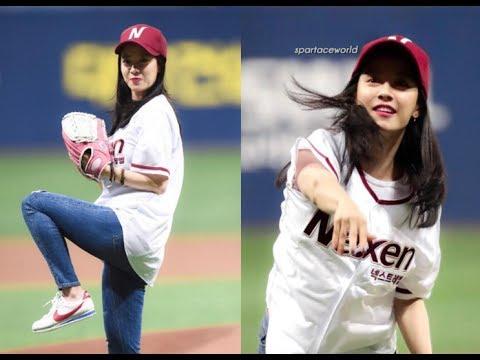 Song Ji Hyo Cute and Beautiful in OPENING 2017 KBO LEAGUE BASEBALL