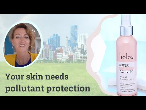Pollutant protection with the Super Natural Activity Pre and Probiotic Spritz from Holos Skincare