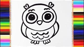 Как нарисовать СОВУ / мультик раскраска СОВА для детей / учим цвета