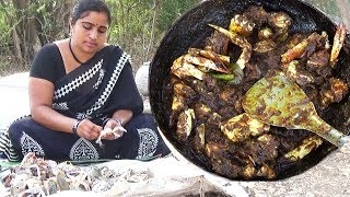 Smaller Crabs Recipe Cooking In My Village For Kuli's- How to Prepare Crab Curry South Indian Style
