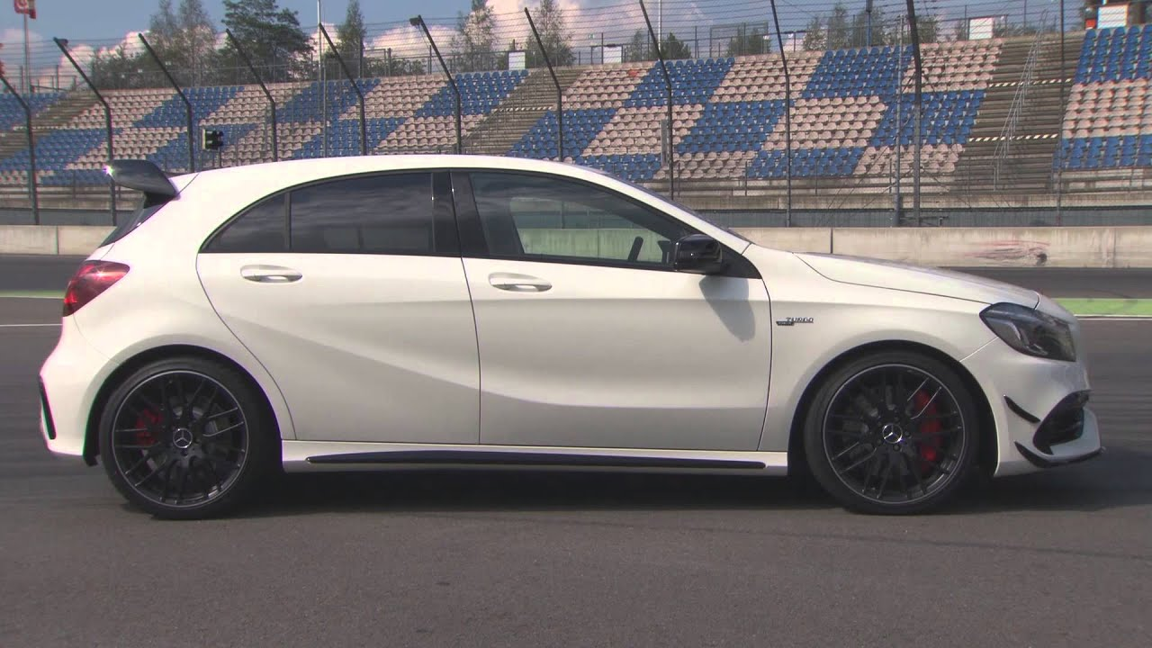 the new mercedes amg a 45 4matic cirrus white racetrack exterior design automototv youtube. Black Bedroom Furniture Sets. Home Design Ideas