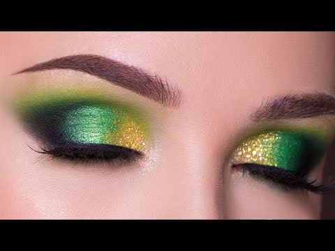 Green and Gold Smokey Eye Makeup Tutorial