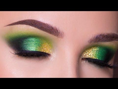 Green and Gold Smokey Eye Makeup Tutorial