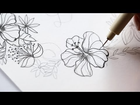 How to draw a hibiscus wreath, Speed drawing, The Aloha Studios