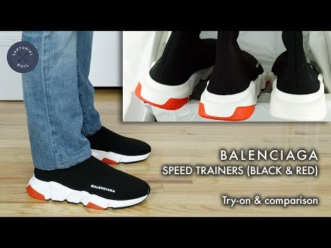fece1555d0b1d Balenciaga Men s Speed Trainers Sock Knit  Black Red 2018 try-on    comparison