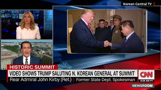 Trump returns salute of North Korean general at summit, state media footage reveals