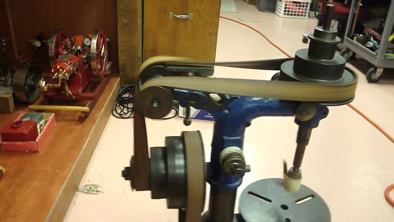 Flat Pulleys For Sale : Antique drill press with flat belt drive