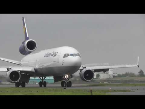 aviation Lufthansa Cargo MD11 DALCK from Buenos Aires lands  7may17 Stansted Airport 955a