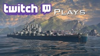 World of Warships - Twitch Plays - Cleveland Tier 6 USN Cruiser - Low Hp, Battleship? RAM!