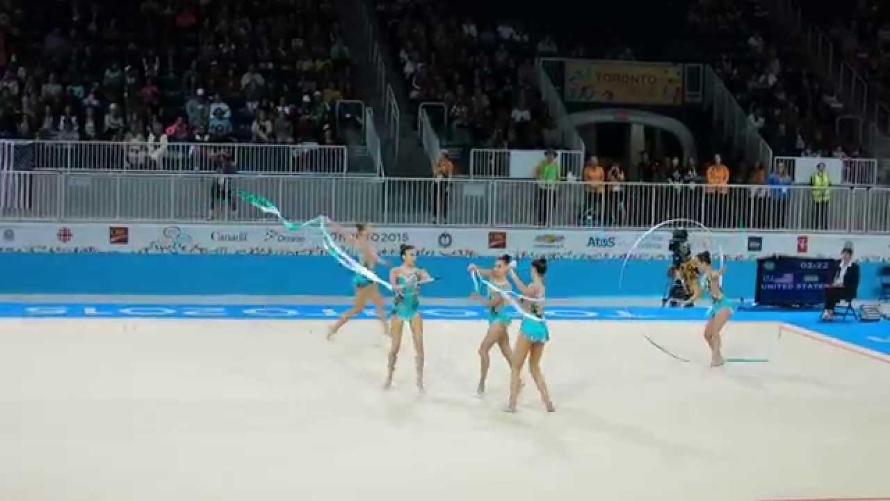 Rhythmic gymnastics pan am games 2015 us ribbon group routine