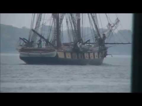 Historic Niagara Brig ship passing Marine City, Michigan, 8 20 14