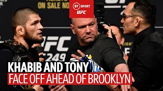 Khabib kicks Tony Ferguson's belt off stage! The UFC 249 face off was heated 🔥