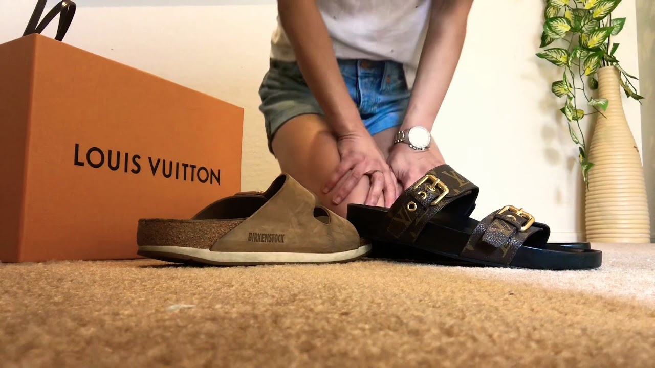 0a396594fa9 Louis Vuitton Bom Dia Mule vs Birkenstock ( mod shots with LV purses )