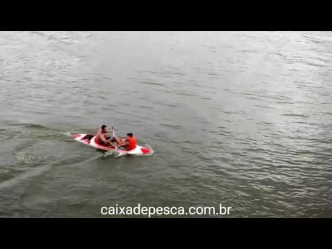 Pai e filho de caiaque sendo levado pela maré.