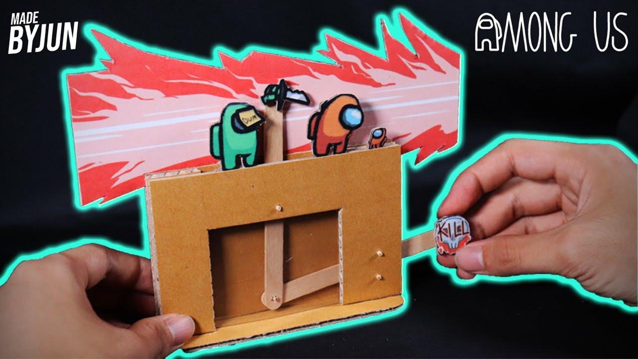 박스로 만든 어몽어스 킬모션 오토마타 | 당기면 자동으로 칼 연타를 한다!? | Making Among us kill Automata with Cardboard
