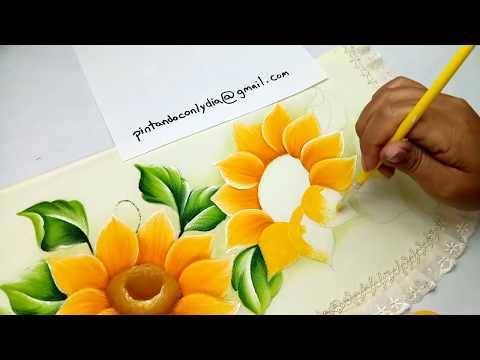 Tutorial De Pintura Como Pintar Girasoles Fácil / How to paint Easy Sunflowers