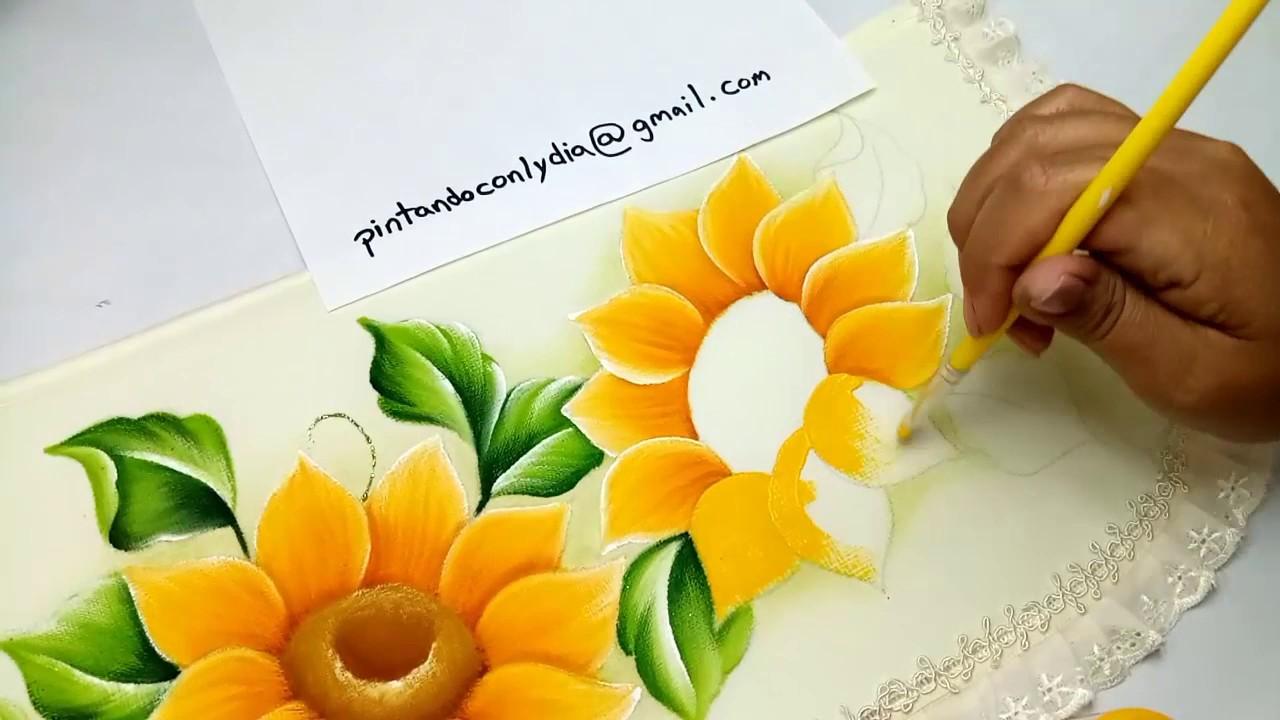 Tutorial De Pintura Como Pintar Girasoles Fácil How To Paint Easy Sunflowers
