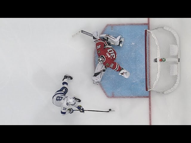 Cam Ward swats puck off goal line to deny Palat
