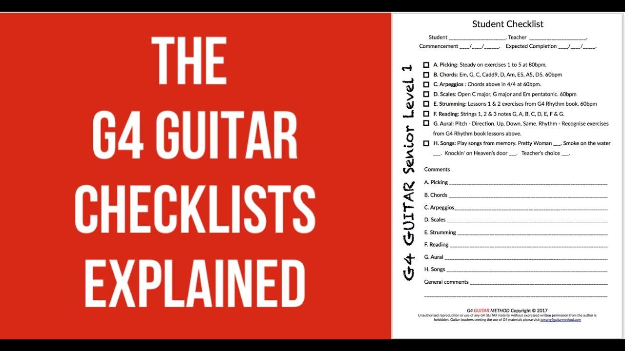 G4 Guitar Method Checklist Introduction Youtube