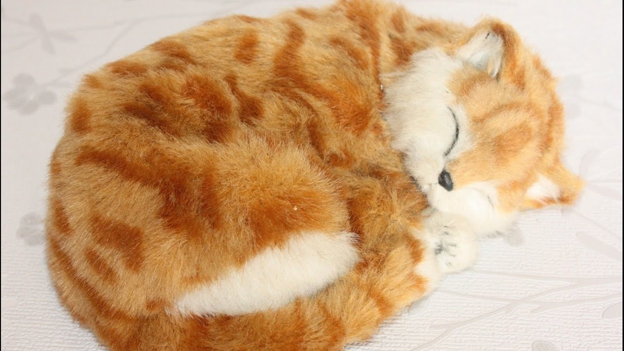 Lifelike Sleeping Breathing Garfield Cat Plush Toy Pet Fake Fur