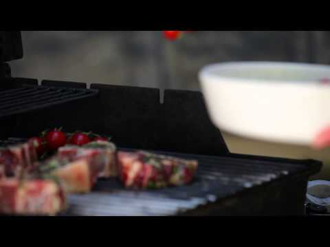 Grilling 101 - American Lamb Loin Chops With Blistered Tomatoes, Smashed Olives And Arugula