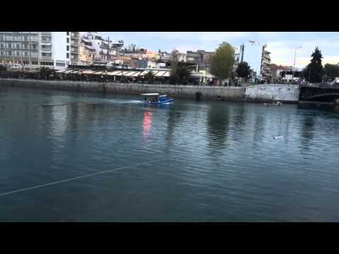 High speed boat passes under a bridge Chalkida ;))