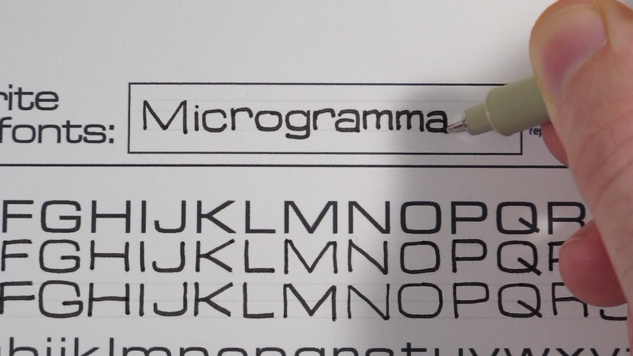 learn to write in different fonts microgramma