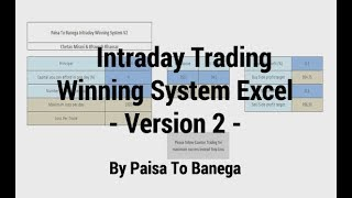 Excel sheet to generate intraday trading calls for orb plus