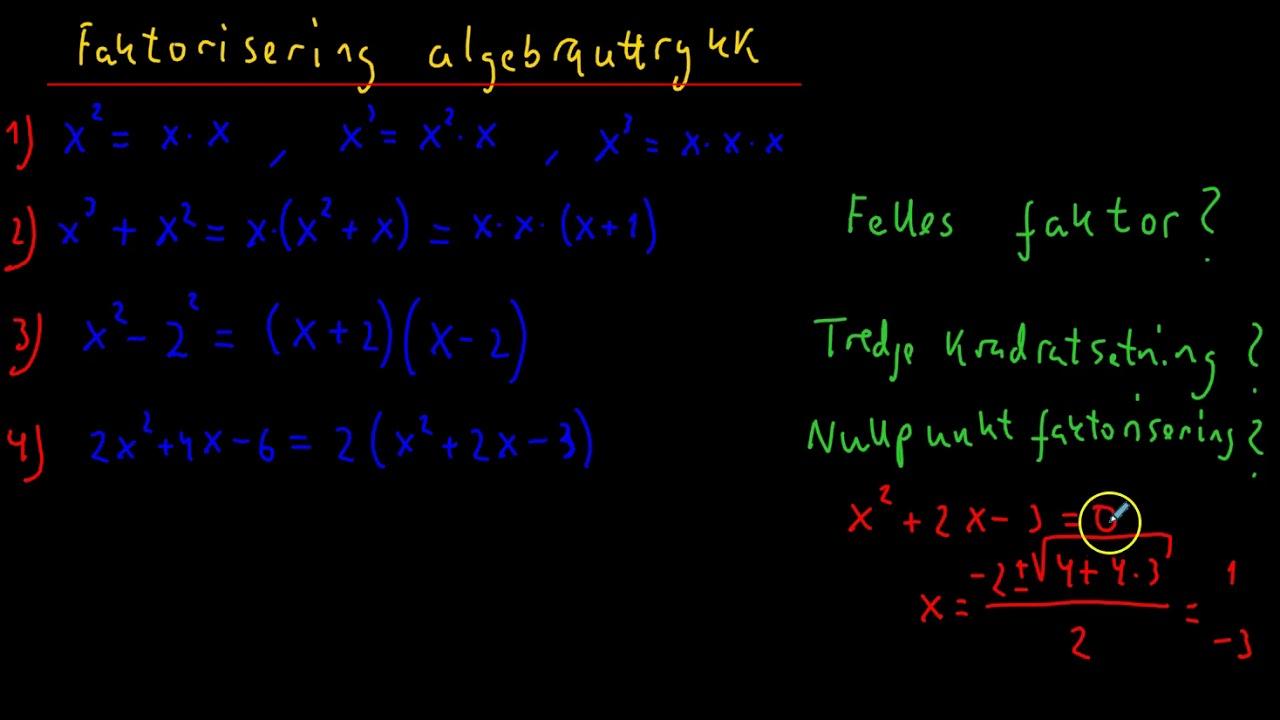 Faktorisering av  algebrauttrykk R1