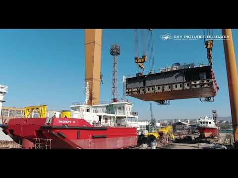 Заснемане с дрон Bulgaria aerial industrial ship drone video 800 tons crane in Bulyard shipbuilding