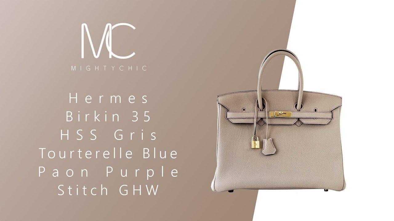 MIGHTYCHIC • Hermes Birkin 35 HSS Gris Tourterelle Blue Paon Purple Stitch  GHW fb210160ee