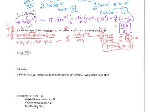 Ap calculus semester 1 review with answers