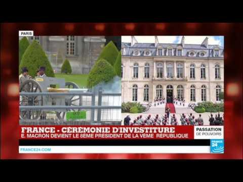 21 coups de canon tirés depuis les Invalides - Emmanuel Macron, nouveau président de la République