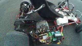 teste du karting éléctrique avec un alternateur de voiture en moteur brushless