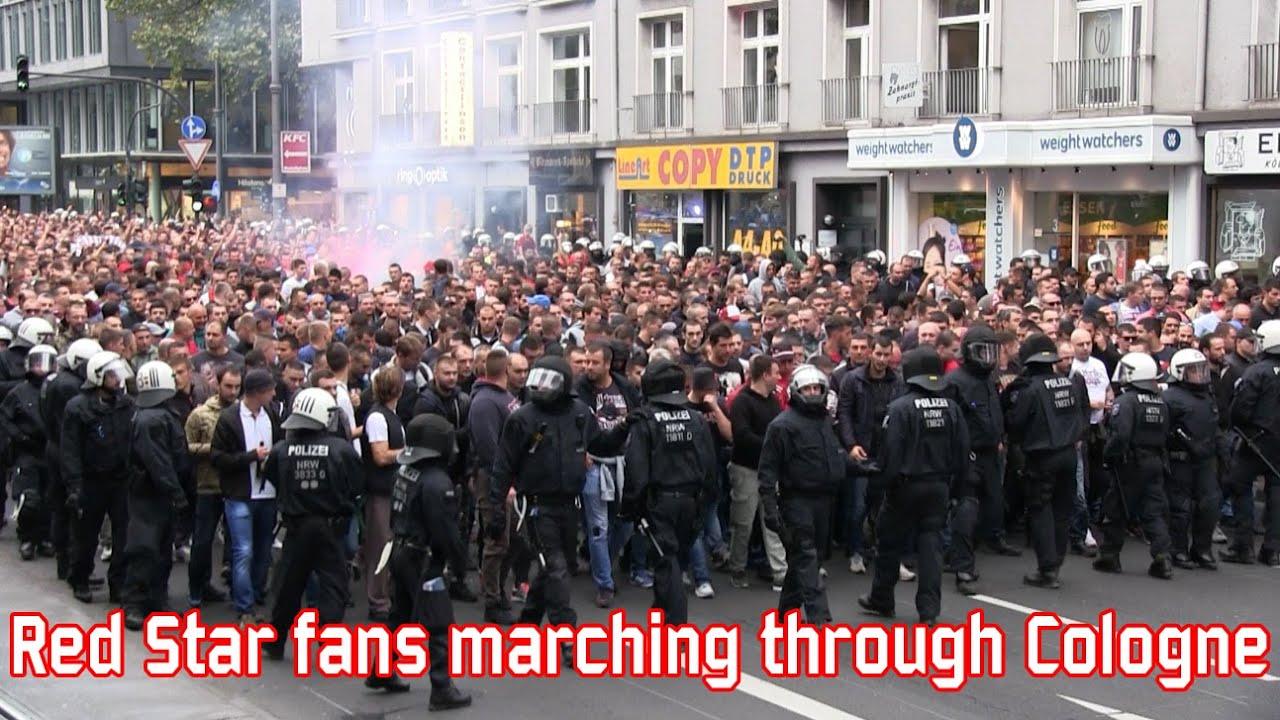 Red Star Belgrade fans marching through Cologne (1. FC Köln - Red Star)