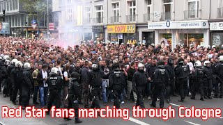 Red Star Belgrade fans marching through Cologne (1. FC Köln - Red Star)