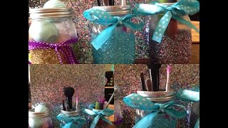 Diy Glitter Mason Jars // Room - Dorm Room Decoration / Organization