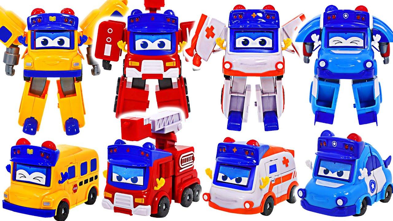 고고버스 소방차, 구급차, 경찰차, 스쿨버스 변신 자동차 로봇! 출동!   두두팝토이