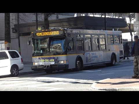 MARTA Bus: 2002 OBI Orion VII Route 49 Bus #2210 at Alabama-Forsyth Sts (Downtown-Five Points)
