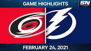 NHL Game Highlights | Hurricanes vs. Lightning - Feb. 24, 2021